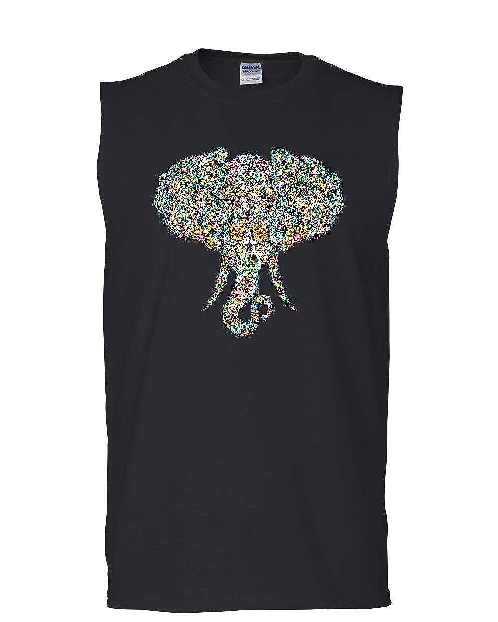 Mosaic Elephant Muscle Shirt Art Pastel Henna Ornament Wildlife Trunk Sleeveless