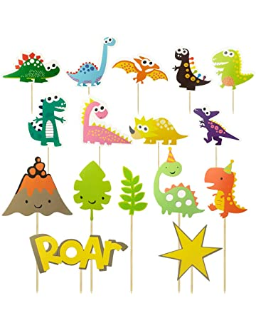 Decoración para cupcakes de dinosaurio Hangnuo, decoración para pasteles de dinosaurio, para alimentos,