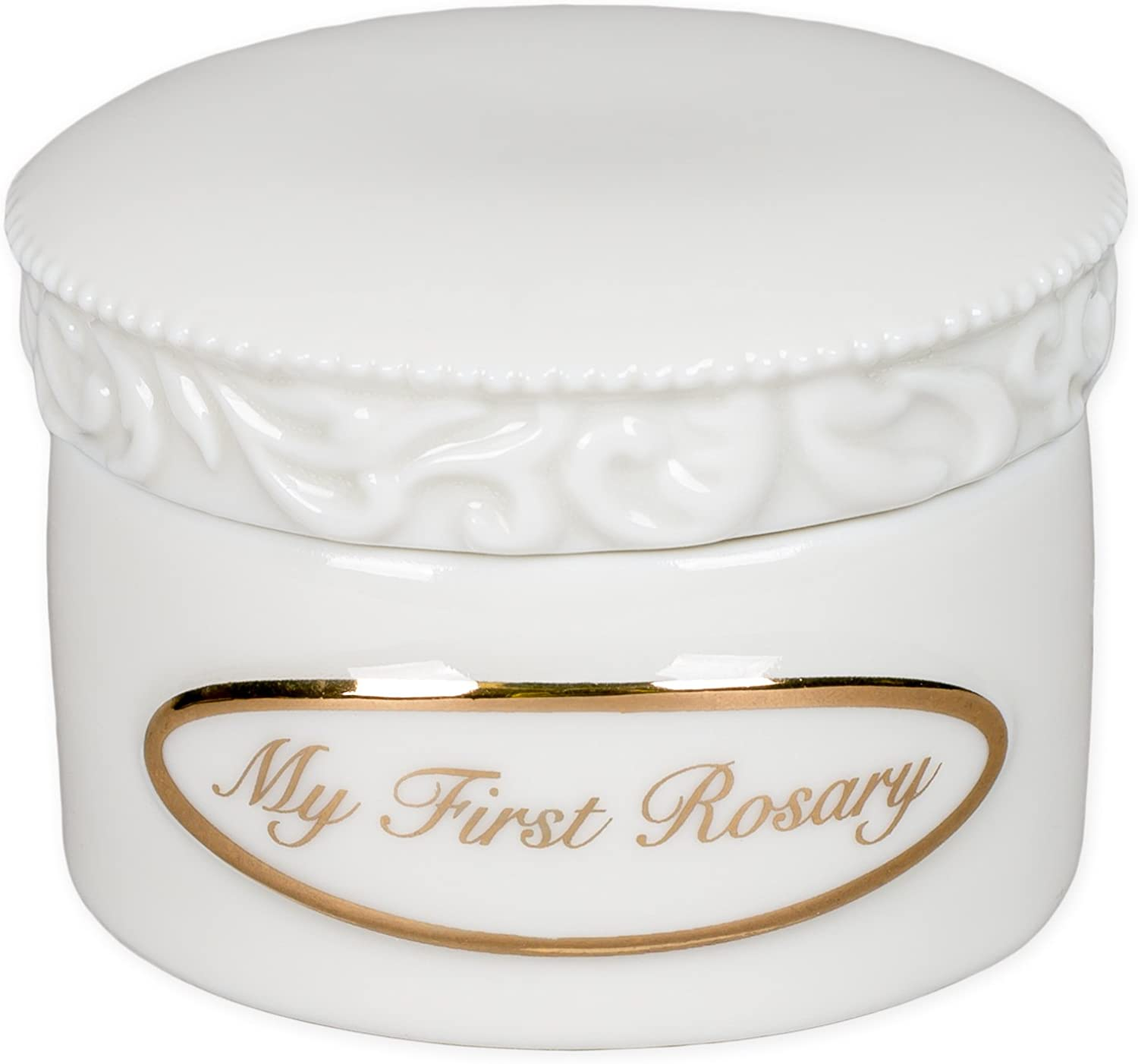 My First Rosary Gold Tone Letters 2 x 2 Inch White Porcelain Jewelry Box