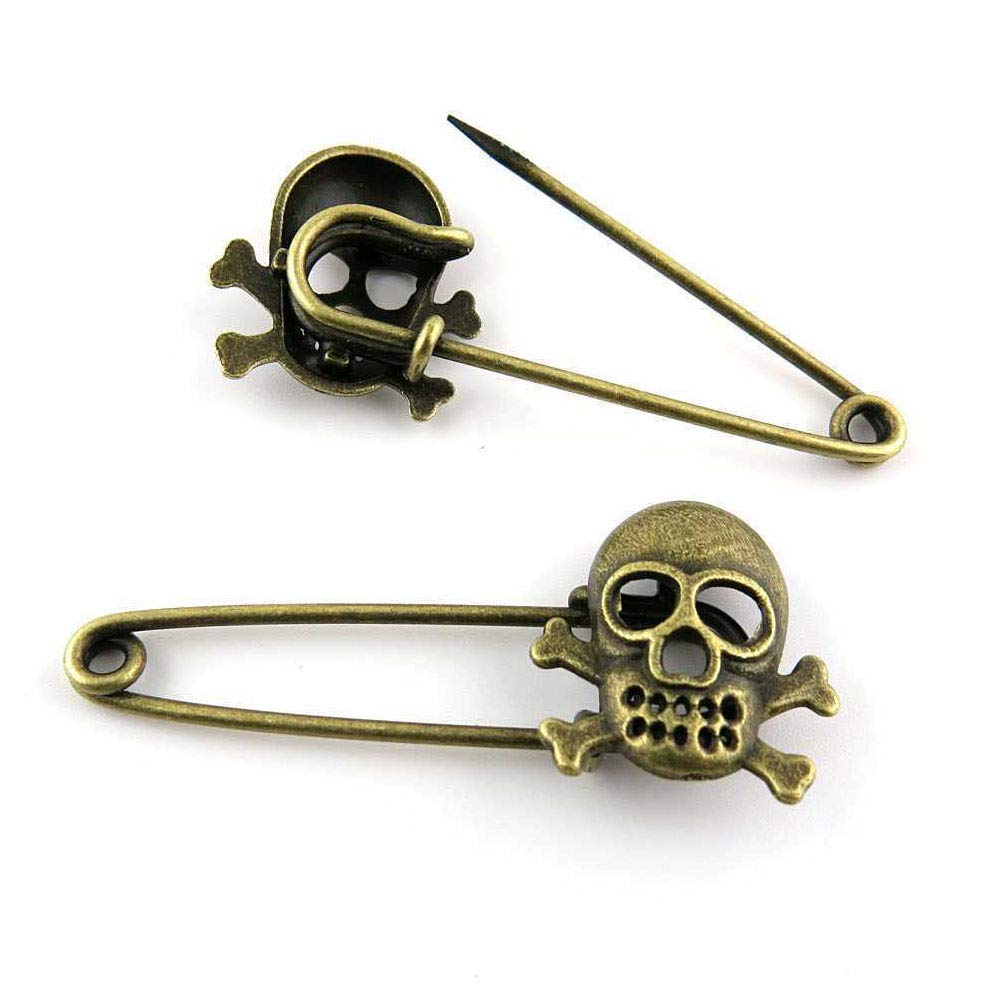 Price per 190 Pieces Antique Bronze Tone Jewelry Charms Findings Arts Crafts Beading Making Charmes W02279 Pirate Skull Safety Pins Brooch by ebemallmall Charms (Image #1)