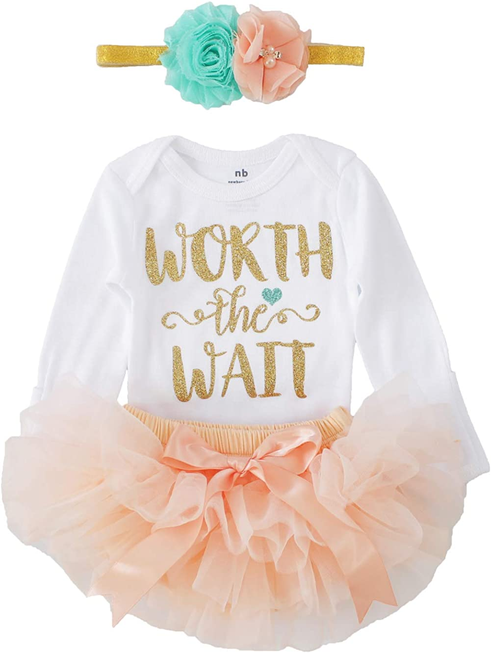 3pcs Mint and Peach Newborn Baby Girl Coming Home Outfit Worth The Wait Bodysuits