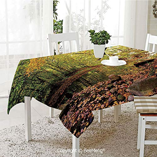 oof Waterproof Tablecloth,Family Table Decoration,Landscape,Pine River in Fall Forest Faded Maple Leaves Deciduous Trees in Autumn,Green Yellow Cinamon,70 x 104 inches ()