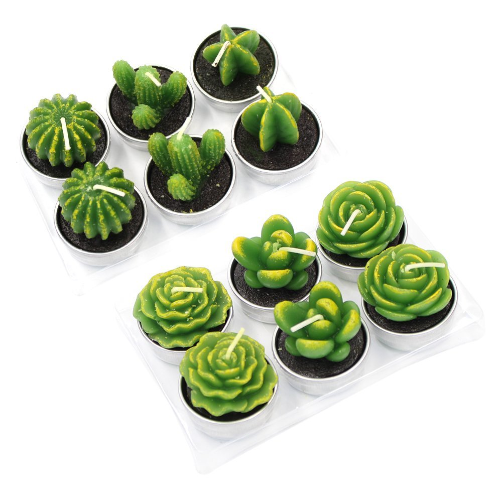 12 Pieces Cactus Tealight Candles Handmade Delicate Succulent Cactus Candles for Party Wedding Spa Home Decoration Gifts Md trade