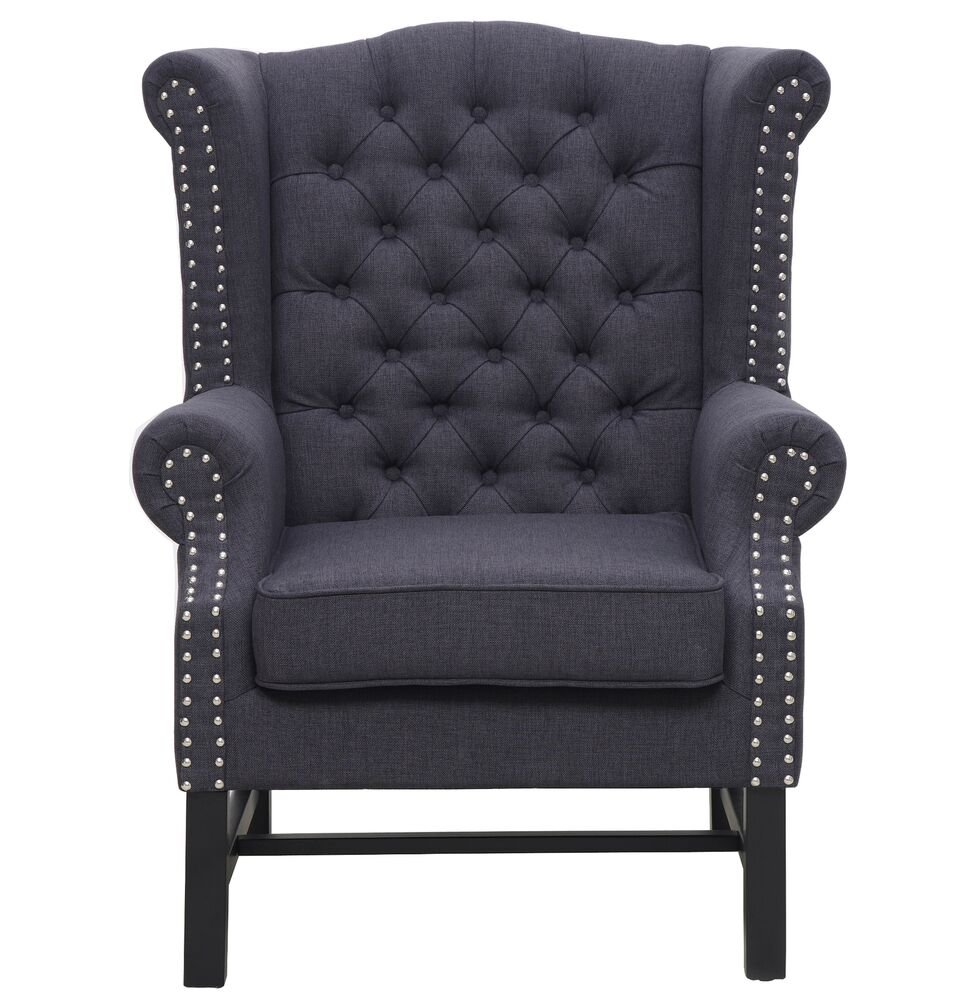 Amazon.com: TOV Furniture The Fairfield Collection Traditional Style Linen  Upholstered Living Room Den Button Tufted Club Chair, Grey: Kitchen U0026 Dining