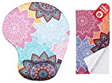 Colorful Mandala Ergonomic Design Mouse Pad with Wrist Support. Gel Hand Rest. Matching Microfiber Cleaning Cloth for Glasses, Cars & Electronics. Mouse Pad for Laptop, PC Computer and Mac.
