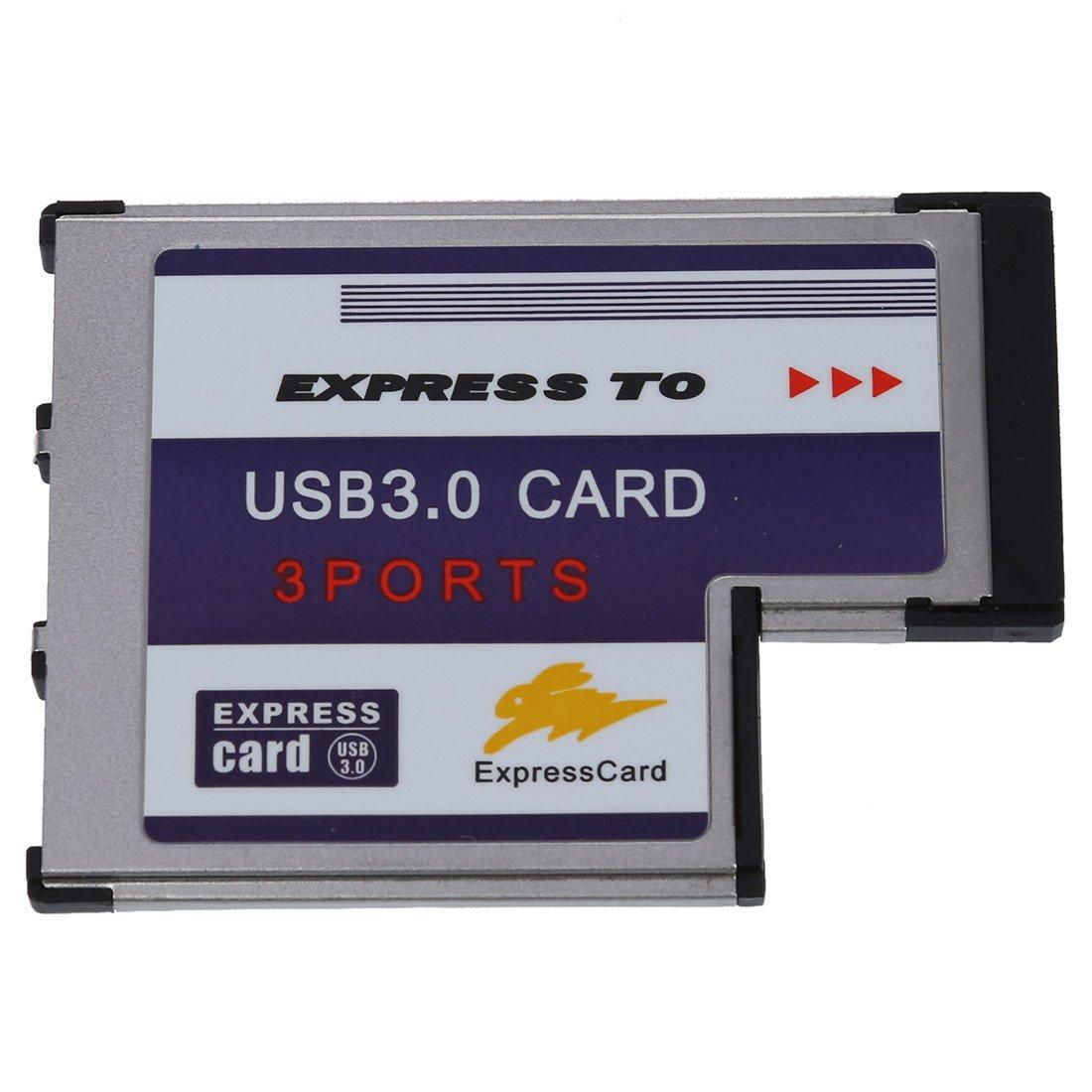 TOOGOO(R) 3 USB 3.0 puerto expreso Tarjeta 54mm PCMCIA Express Card para el ordenador portatil NUEVO