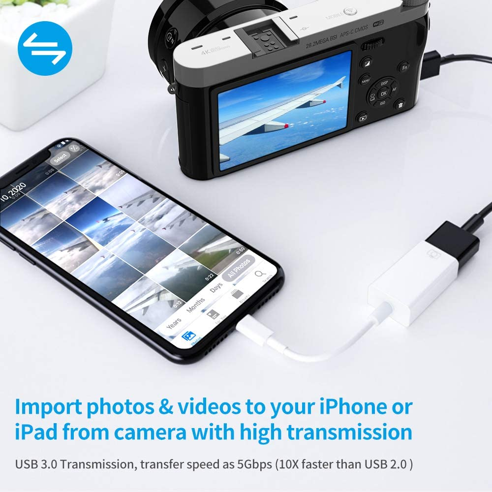 White USB Camera Adapter,USB 3.0 OTG Cable Adapter for iPhone /& iPad,Portable USB Adapter Compatible iOS 9.2 to 13,Support Card Reader,USB Flash Drive,Keyboard,Mouse,No Application,Plug /& Play