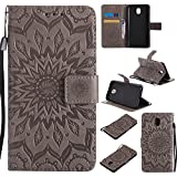 For Samsung Galaxy J5 2017 / SM-J530 Case [Gray],Cozy Hut [Wallet Case] Magnetic Flip Book Style Cover Case ,High Quality Classic New design Sunflower Pattern Design Premium PU Leather Folding Wallet Case With [Lanyard Strap] and [Credit Card Slots] Stand Function Folio Protective Holder Perfect Fit For Samsung Galaxy J5 2017 / SM-J530 5,2 inch - gray