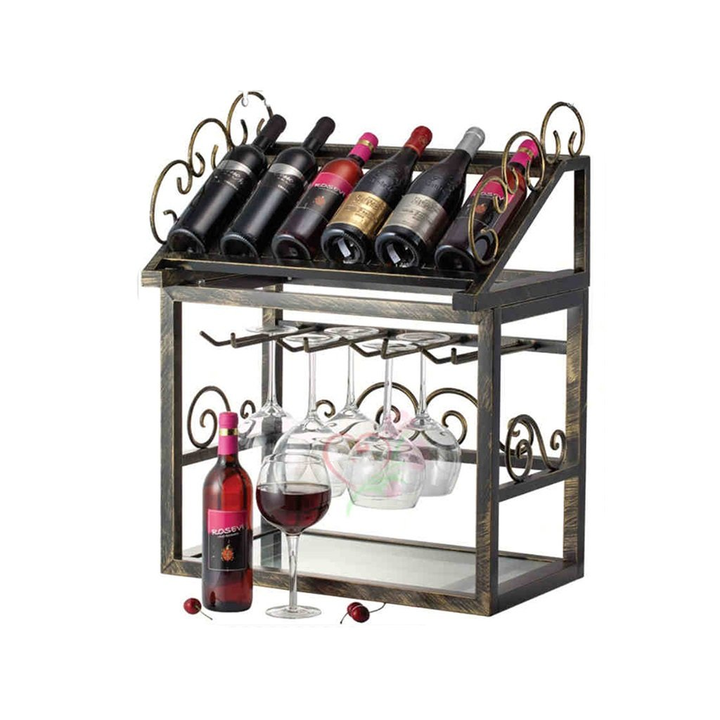 Amazoncom Qiangzi Countertop Wine Racks Glass Holder Metal Kitchen