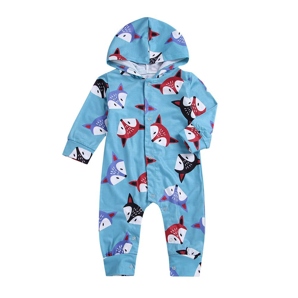 FeiliandaJJ Baby Clothing Set, 2pcs Infant Toddler Baby Fox Print Hoodie Long Sleeve Jumpsuit Romper Outfits Clothes
