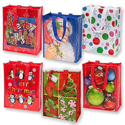 (Reusable Christmas Tote Gift Bags With Handles Large Holiday Party Favor Bags, 12 Pack By Gift)
