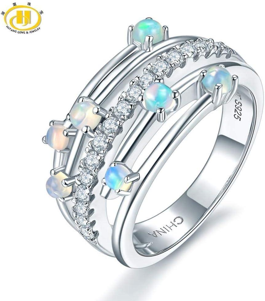 FISISZ Anillos de ópalo de Piedras Preciosas Naturales Anillo de Compromiso de Plata esterlina 925 Joyería Fina Diseño Elegante para Regalo de Mujer, 6