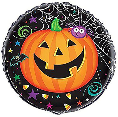 "Custom, Fun & Cool {Big Large Size 18"" Inch} 1 Unit of Helium & Air Inflatable Mylar Foil Balloon w/ Smiling Jack O Lantern Pumpkin Happy Halloween Spider Design [in Orange, Black, Green & (Pumpkin Mylar Balloon Foil)"