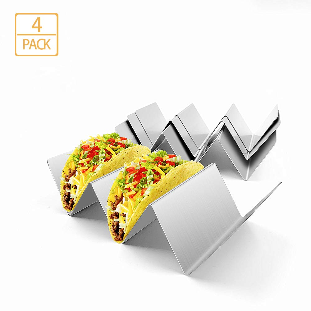 Taco Holder Set of 4-Stainless Steel Taco Truck Oven&Dishwasher Safe Taco Stand Easy to Hold Hard or Soft Shell Tacos Make You Have a Perfect Dinner(4 pack)