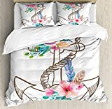 Difference Between Full and Queen Bed Ambesonne Anchor Duvet Cover Set Queen Size by, Watercolor Spring Blossoms and Feathers on a Doodle Style Anchor, Decorative 3 Piece Bedding Set with 2 Pillow Shams, Brown Pale Pink Turquoise