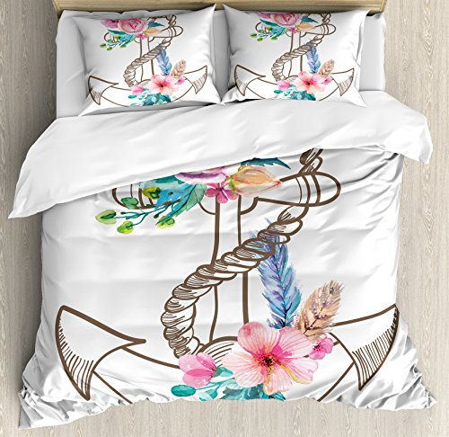 Ambesonne Anchor Duvet Cover Set, Watercolor Spring Blossoms and Feathers on a Doodle Style Anchor, Decorative 3 Piece Bedding Set with 2 Pillow Shams, King Size, Brown Pink