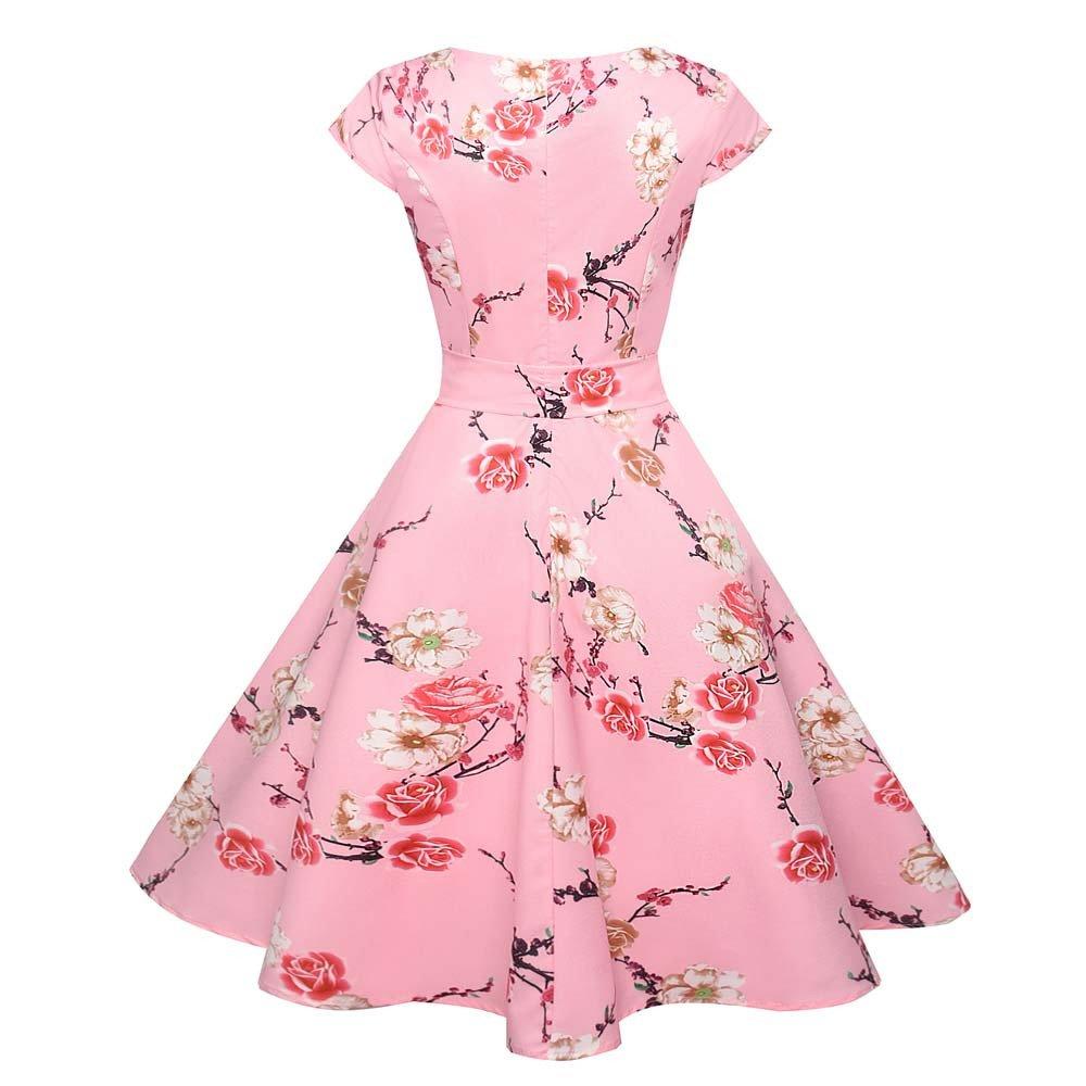 Vintage Anni 50 Vestito Donna Casuale Abito retr/ò Vintage Bodycon Corto Manica Sera Festa Prom Swing Vestito