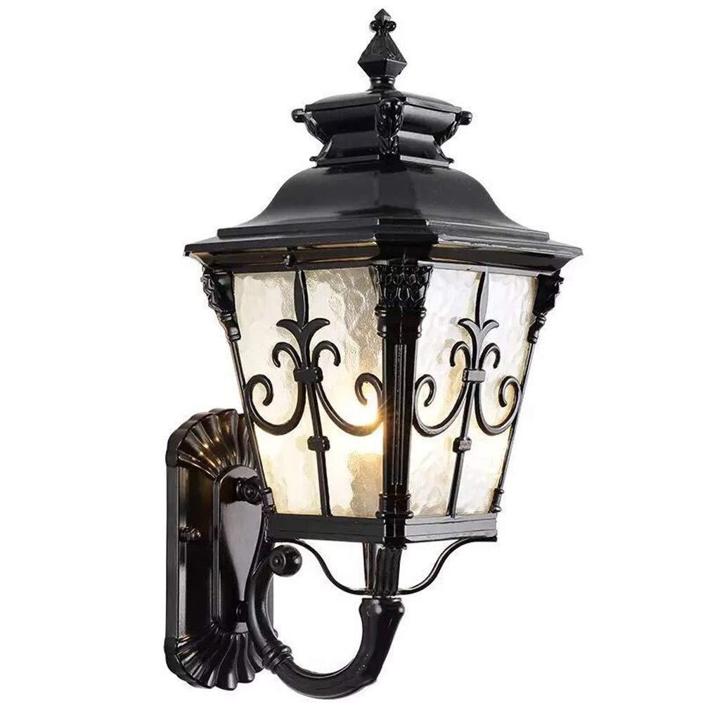 AXWT Lampada da parete in stile europeo Retrò Balcone da esterno Impermeabile Applique da parete per esterni con luce scale Sconce speciale Quattro angoli Lanterna stradale (Colore   nero-40cm)