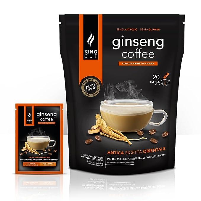 Café con Ginseng azúcar morena - 20 sticks soluble (de 20gr) - King Cup