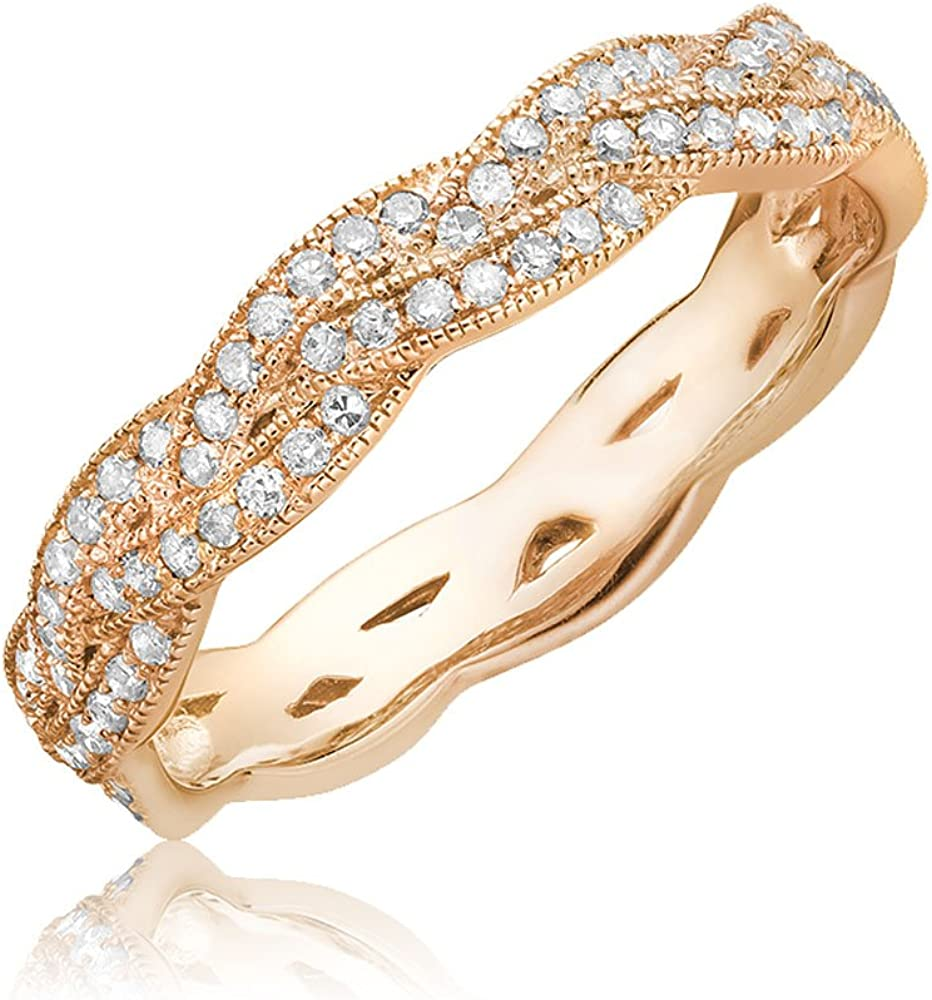 Size 6.5 0.20TDW,G-H Color,I1 Clarity Jewels by Erika 14K Gold and Diamond Stackable Ring