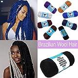 Acrylic Brazilian Wool Hair African Hair Knitting Yarn for Braids 2 Bundle Sengalese Twisting Jumbo Braids Dreadlocks Extensions 70g/bundle Black
