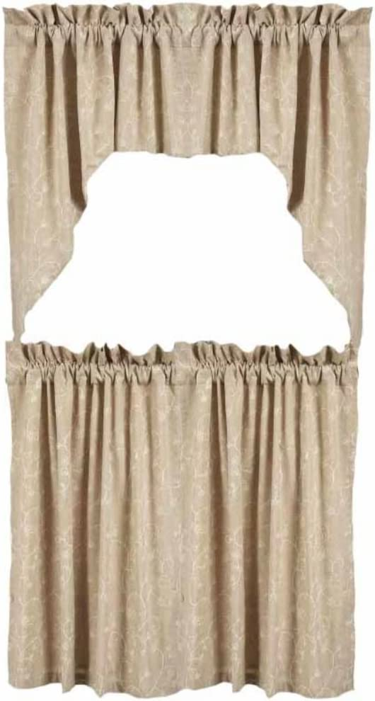 Home Collections by Raghu 2-Piece Candlewicking Window Tiers, 72 by 36-Inch, Taupe