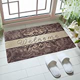 "Rubber Doormat Indoor Low Profile Non-Slip Washable Welcome Mat 18""x30"" for Front Porch Entrance Shoe Scraper Absorbent Decor Office Hall Entry Floor Mat Inside Bedroom Carpet Home Kitchen Rug"