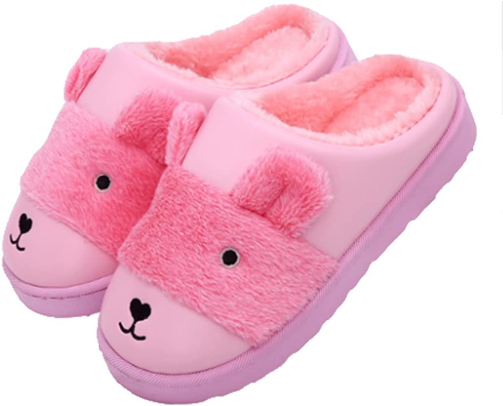 Cwait PU Leather Warm Indoor Outdoor Fluffy Slippers Kids Slippers Little Kid