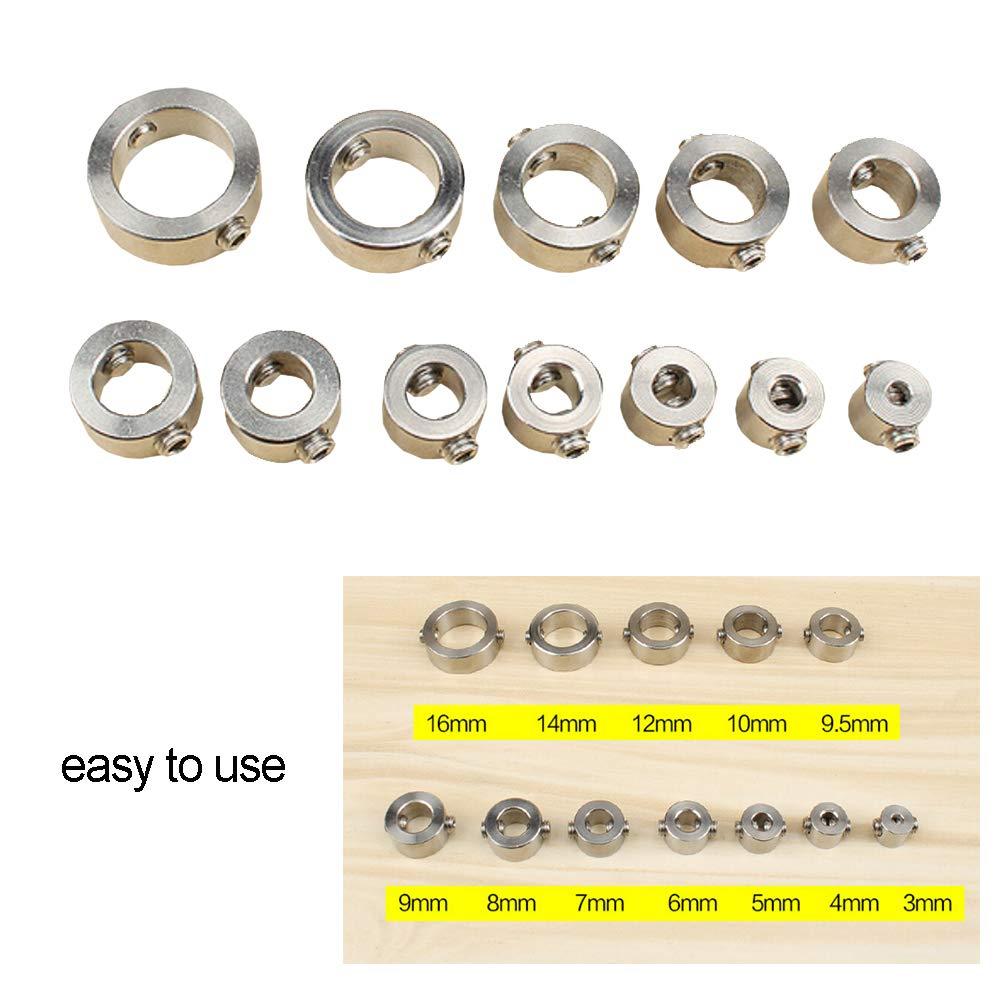 12st Bit-Grenze Ringe Stahl Positionierung Ring Holzverarbeitung Loch Locator optische Achse Bits Grenze Sleeve Motorwelle Befestigungsring Druckring 1 Set