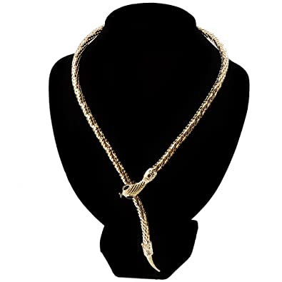 23713eaa8261d Amazon.com: Mesmerizing Gold Tone Snake With Red Eyes Choker ...