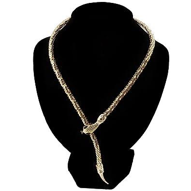 Avalaya Mesmerizing Gold Tone Snake With Red Eyes Choker Necklace NKGzHzr