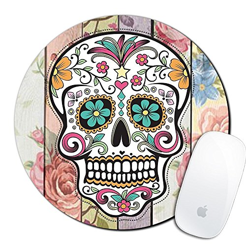 Custom Printed Mouse Pad - Royal Up Flower Skull Custom Mouse Pad Gaming Mat Keyboard Pad Waterproof Material Non-slip Personalized Round Mouse pad (7.8x7.8x0.08Inch)