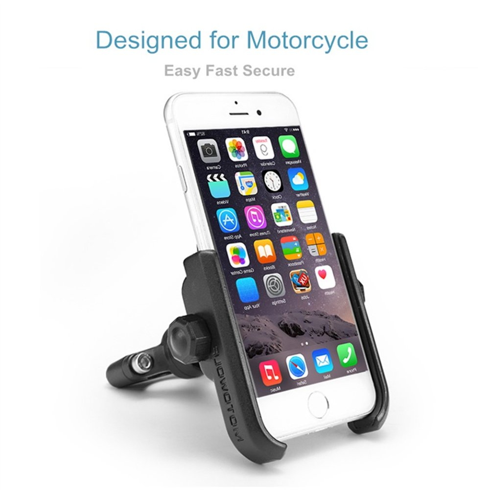 ILM Motorcycle Phone Mount Premium Aluminum Universal Bike Handlebar Holder Fits iPhone X, 7 | 7 Plus, 8 | 8 Plus, iPhone 6s | 6s Plus, Galaxy S7, S6, S5, Holds Phones Up To 3.7'' Wide (SILVER) by ILM (Image #4)