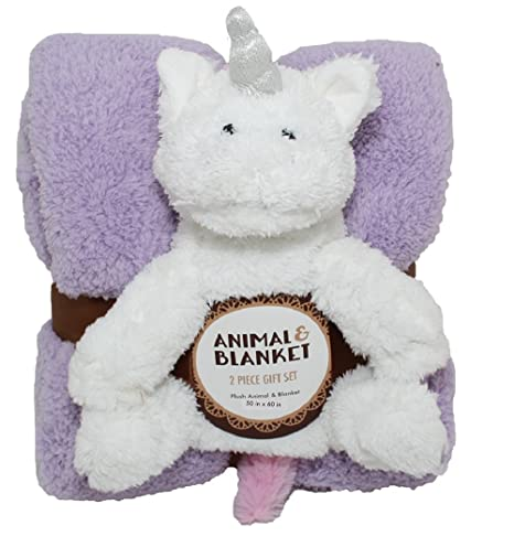 Silver One Sherpa Plush Stuffed Animal and Throw Blanket 2 Peice Gift Set for Kids//Children 50 x 60 Soft Plush Throw Get Well Gifts Blue Dino