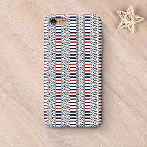 Nautical Stylish Compatible with iPhone Case,Marine Pattern with Stripes Anchors Rope Figures Sailor Symbol Navy Design Decorative Compatible with iPhone X,iPhone 6 Plus / 6s Plus ()
