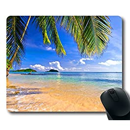 Gaming Mouse Pad Shore Palms Tropical Beach Oblong Shaped Mouse Mat Design Natural Eco Rubber Durable Computer Desk…