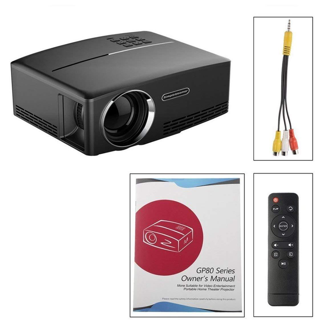 GP80 Mini Proyector portátil 1080P Proyector LED Proyector LCD VGA ...