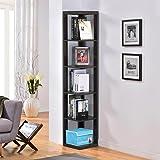 Yaheetech 5 Tier Espresso Finish Wood Wall Corner Shelf Slim Bookshelf/Bookcase Tall Display Rack