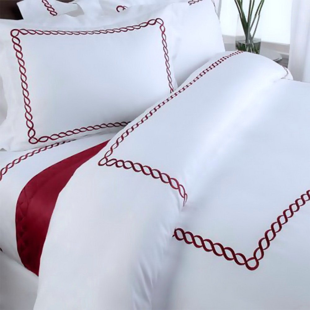 Amazon com  Duvet Cover Set Hotel Queen Size 100 Egyptian Cotton Hotel  White Embroidered Red Trim Pattern with Duvet Insert and Sheets  Home    Kitchen. Amazon com  Duvet Cover Set Hotel Queen Size 100 Egyptian Cotton