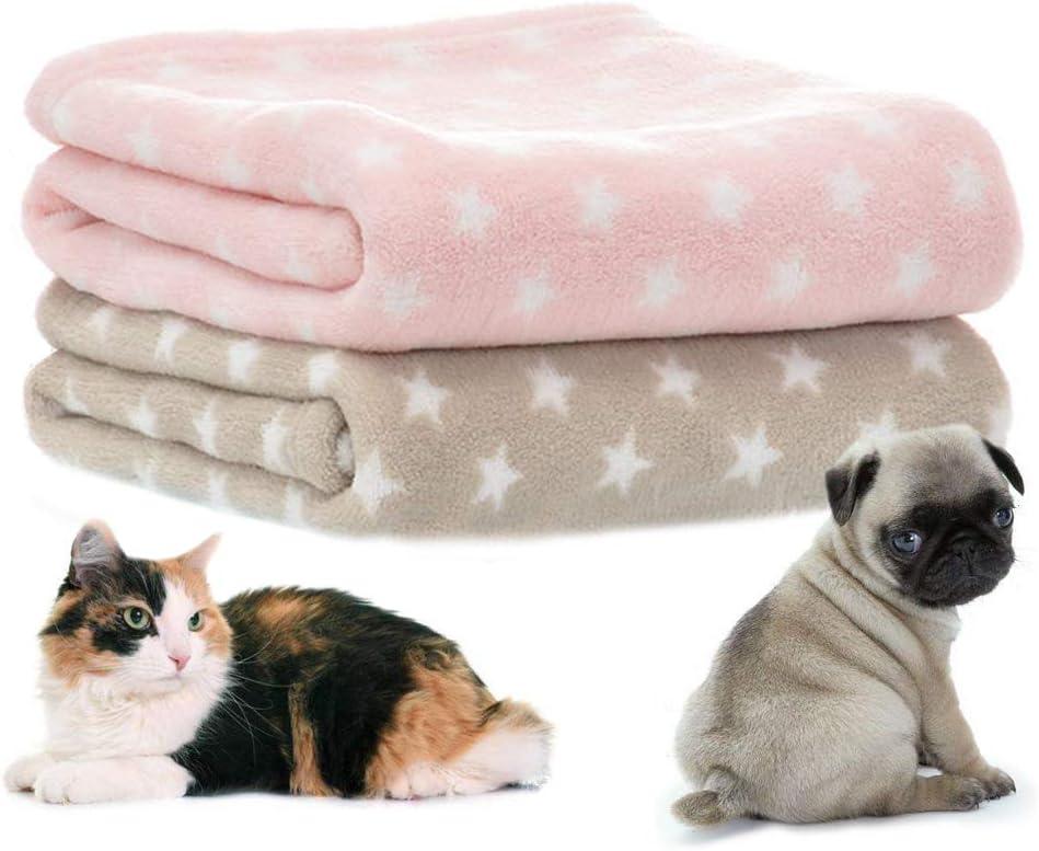 LeerKing Mantas de Perro de Lana de Coral Lavables Suaves Mantas de Cama de Gato de Mascota de Primavera y Verano Medio 70X100cm 4 Colores