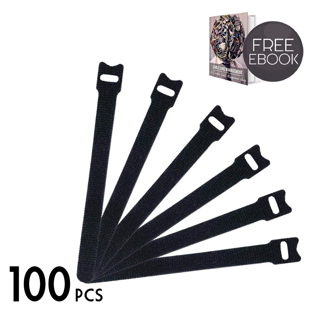 100 Pcs Cord Strap 8 x 1/2 Inch, Adjustable Cable Straps Fastening Hook and Loop Cable Ties, Premium Strong Nylon Cable Straps for Organizing Messy Wire, Black - Cable Cord Management E-Book Included