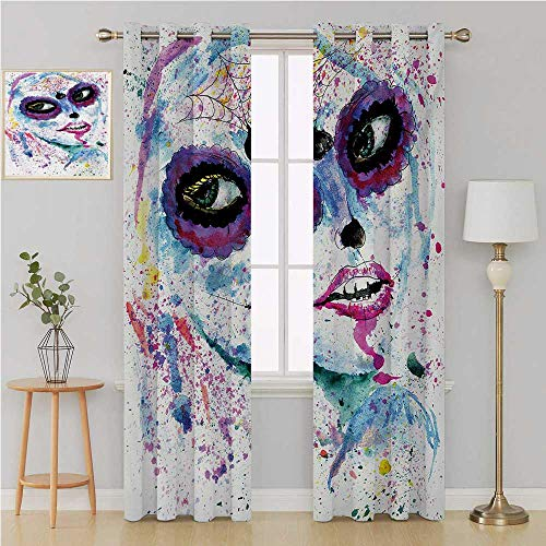 Benmo House Girls Gromet Curtain Thermal Blackout Curtains,Grunge Halloween Lady with Sugar Skull Make Up Creepy Dead Face Gothic Woman Artsy Window Curtain 2 Panel 120 by 84 Inch Blue Purple -