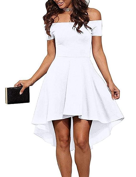 Sarin Mathews Women Off The Shoulder Short Sleeve High Low Cocktail Skater Dress White L