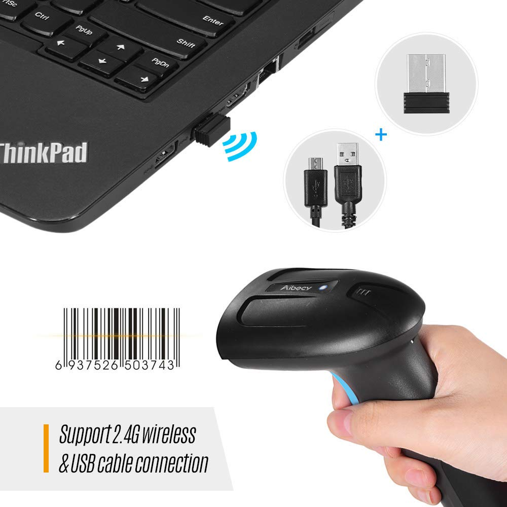 Leslaur Aibecy Handheld-USB-CMOS-Bild-Barcodescanner 1D 2D-QR-Barcodeleser mit USB-Kabel Plug-and-Play f/ür die mobile Zahlung Computerbildschirm f/ür Supermarkt-Einzelhandelsgesch/äft-Lager
