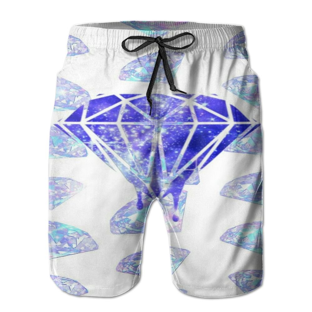 PPANFKEI Diamonds Mens Fashion Board Shorts Loose Fit Lined Surf Trunks Jogger Shorts