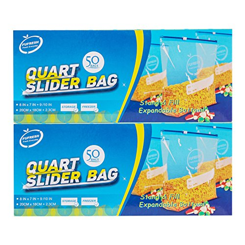 Expandable Bottoms - FUFRESH Quart Slider Freezer Bags, 2 * 50ct, with Expandable Bottom and Smart Package for Food Storage and Food Freezer