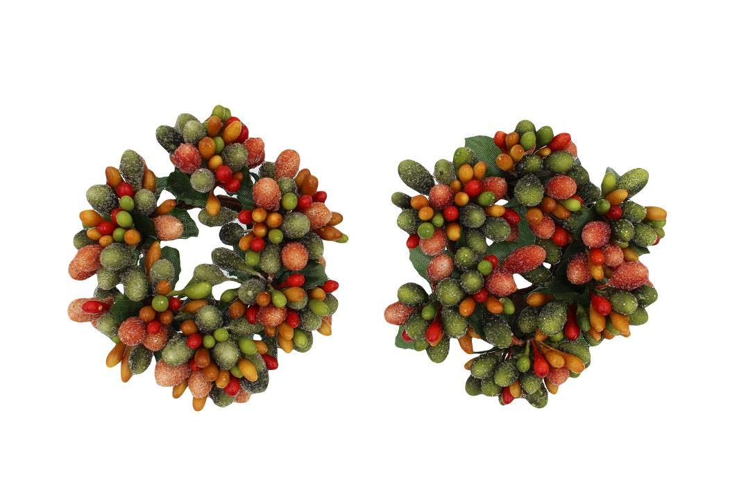 Set of 2 (Two) 3-inch (1.2-inch Inner Ring) Beaded Berry Wreath Candlering Candle Napkin Ring Fall Green Orange Brown