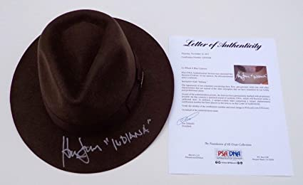 b2e52e53c2a59 Image Unavailable. Image not available for. Color  Harrison Ford  Autographed Signed Indiana Jones Authentic Hat ...