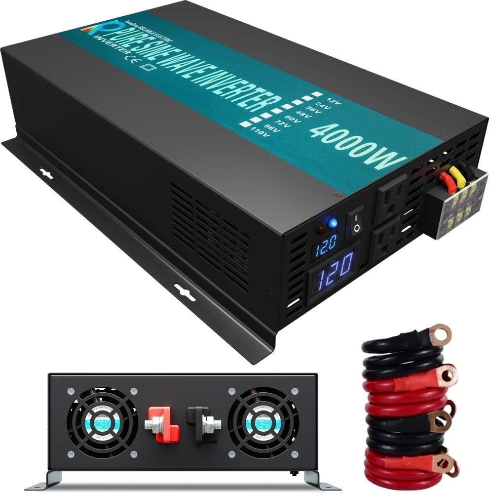 WZRELB 4000W 12V Dc to 120V AC Pure Sine Wave Solar Power Inverter