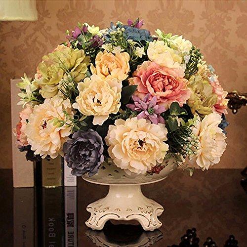 BAGEHUA カラフルな花の花、シルクの花椿のシミュレーション設定のラウンドフラワーポーチテーブル花造花、花 B0767G5S5P Flower vase